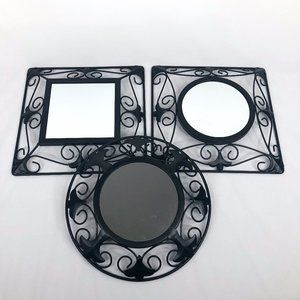 Home Interiors Black Metal Mirror Set
